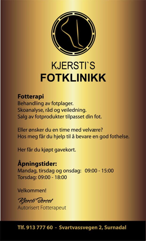 Flyer Kjersti's Fotklinikk